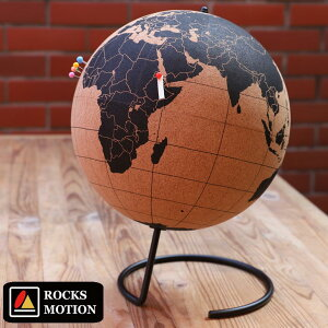 ロックスモーション コルク製地球儀 タックアップグローブ ピン付き おしゃれ レトロ コルクの地球儀 インテリア 軽量