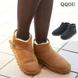 QQOU(ククー)防寒あったかブーツ ブラック ブラウン 中ボア 防水加工 幅広3E 防寒シューズ 靴