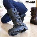 エンジニアブーツ レディース 靴 ミドル丈 クロ ダークブラウン ラウンドトゥ ベルト くしゅくしゅ メンズライク タン…