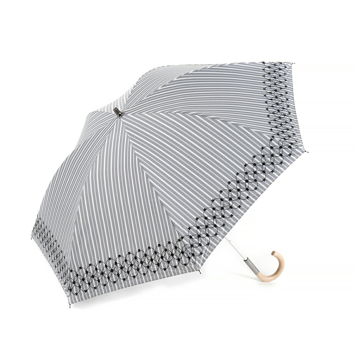 【ANTEPRIMA公式】アンテプリマ/ストライプ先染めラメ刺繍 晴雨兼用ショート傘/ブラック/ANTEPRIMA/E1AN230898/BLACK