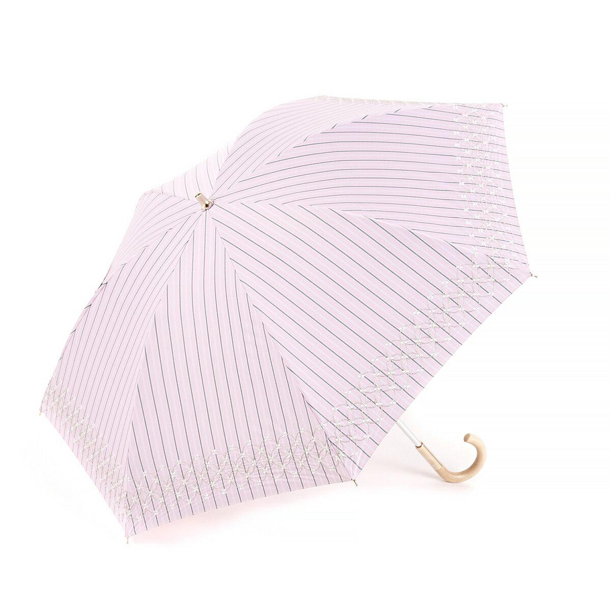 【ANTEPRIMA公式】アンテプリマ/ストライプ先染めラメ刺繍 晴雨兼用ショート傘/ピンク/ANTEPRIMA/E1AN230898/PINK