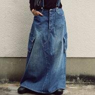 デニムサロペスカートカジュアルながらも大人っぽく仕立て、カッコ良く。・メール便不可