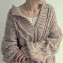 ニット 雰囲気纏う模様編み。風合いに拘ったざっくりキーネックニット・10月15日0時〜再販。発送は10/20〜順次。メー…