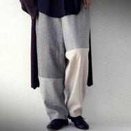 パンツ温もりある柔らかさで目を引く。ヘリンボーン切替パンツ送料無料・メール便不可