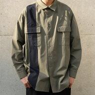 配色ポケットシャツシャツメンズ長袖羽織り送料無料・(80)メール便可
