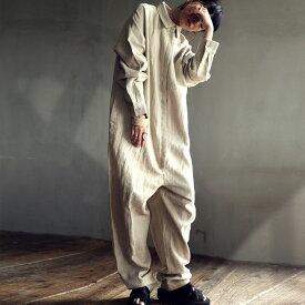 ジャンプスーツ リネン オールインワン レディース 送料無料・7月4日10時〜発売。メール便不可