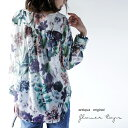 期間限定送料無料!花柄、ボタニカルを透けシフォンで堪能。『ノーカラーでVネック、大人をうならせるシャツ。』5月13日20時〜発売!極めたい女性らしさ。花ボタニカル柄Vネックノーカラーシャツj8