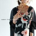 レトロな華が咲く、独自の変形スタイル。フラワー柄切替変形ワンピース##6月22日20時〜発売!m3