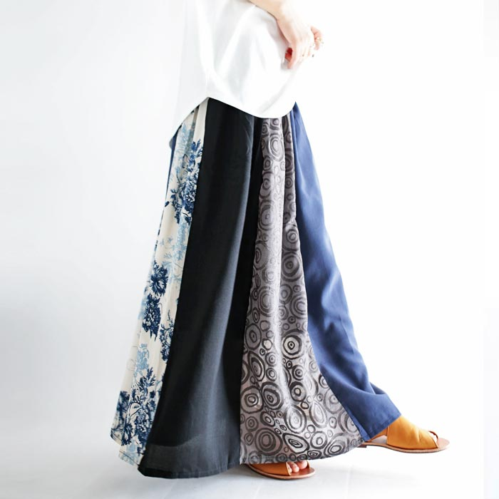 柄と柄のコンビネーション。フレアロングスカート・2月21日20時〜再販。花柄 シック ##