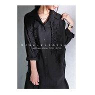 デザイン性を高めたボリュームフリル。『フリル×シャツで甘辛を知る。』大人女子必見の魅力凝縮。シンプルフリルドルマンシャツ##