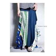 suisai花柄揺れる、印象派スカート。レトロ幾何学柄変形スカート・##