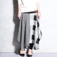 大人のお洒落を極める、modeなサジ加減。変形柄切替えスカート・##