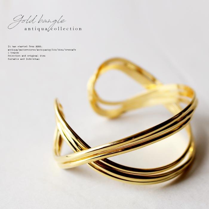 シンプルに女性らしい手元を演出する。ゴールドモチーフバングル・2月9日20時〜再再販。##×メール便不可!