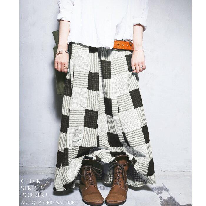 3,000円(税抜)以上で送料無料!まるでパッチワークのようなお洒落生地。チェック柄ロングスカート・7月14日20時〜発売。##