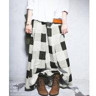 まるでパッチワークのようなお洒落生地。チェック柄ロングスカート・##