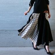 抜群の品と、女性らしさを醸し出す。ウィンドペン切替スカート・(100)