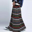 レトロモダンなカラー使いがポイント。マルチボーダーリブスカート・12月15日20時〜発売。##×メール便不可!