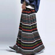 レトロモダンなカラー使いがポイント。マルチボーダーリブスカート・##×メール便不可!