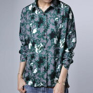 ギンガムチェックに鮮やかなリーフ柄で映える色合い。リーフ柄シャツ・(50)◎メール便可!