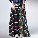 贅沢ドレープ、満足ロング。レトロドレープロングスカート・6月12日20時〜再再販。『花柄×ボーダー、どっちも負けな…
