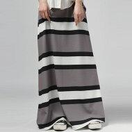 スタイリングに馴染む大人のシックな配色。ボーダーロングスカート・(100)◎メール便可!