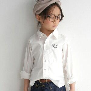 シンプルなシルエット、愛嬌のある変わり種ワッペン。刺繍付きキッズシャツ・再販。「G」(50)メール便可 TOY