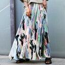 アート柄ギャザースカート スカート レディース 送料無料・6月14日10時〜再再販。メール便不可