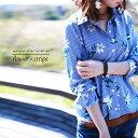 期間限定送料無料!風になびくシャツに包まれて。『ストライプ×flowerの色彩にワクワクしちゃう。』5月20日20時〜再販!爽やかなカラフルShirt。ストライプ×花柄シャツk4
