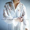 期間限定送料無料!彩り刺繍とふわり袖。『デザイン性高く、シャツを超えるシャツ。』5月10日20時〜再販!ワンランク上を目指す。彩り花柄刺繍シャツ##j7