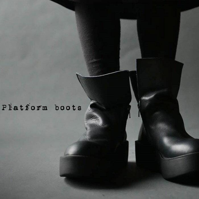 日本製。厚底本革デザインブーツ・12月19日20時〜再再販。本革ならではの魅力。「G」##×メール便不可!