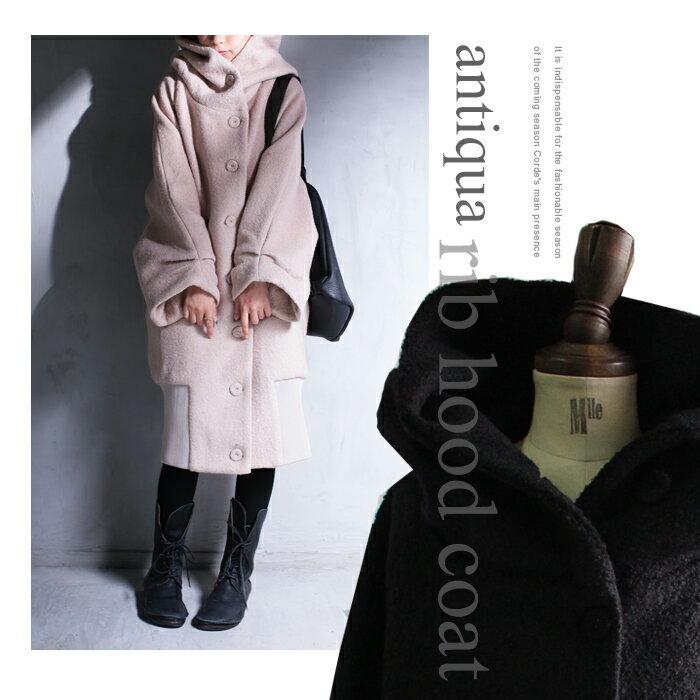 あったかウール混、袖タックとフードで甘辛テイスト。コート・12月13日20時〜再再販。ボタン ##