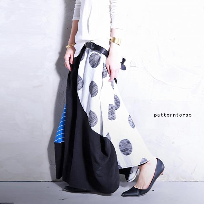 魅せる柄使い、変形で飽きないシルエット。柄切替えロングスカート・5月24日20時〜発売。##