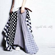 一枚で主役をはれる、こなれスカート。柄切替え変形スカート・##