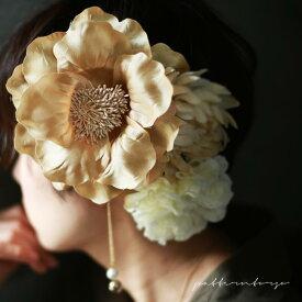 より、リアルに咲き誇る。ビッグフラワーコサージュ・再販。キレイ色大きなコサージュ。艶やか、みずみずしさを放つ花。「G」##×メール便不可!