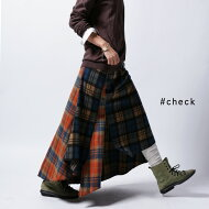 ランダムな裾のデザインがお洒落過ぎ。チェック柄変形スカート・##
