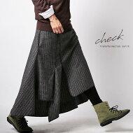 英国レトロなチェック柄でトラッドな印象に。チェック柄アシメスカート・##