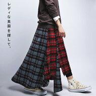 英国ムードなマニッシュな着こなしを。タータンチェックアシメスカート・##×メール便不可!