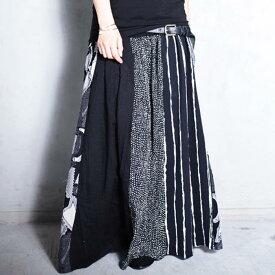 大人気の切替えスカートに新作登場!柄切替えロングスカート・6月5日20時〜再再販。##×メール便不可!