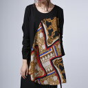 大人顔な彩りに品の良さと洗練を感じる。スカーフ柄切替トップス・1月19日20時〜発売。##×メール便不可!