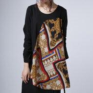 大人顔な彩りに品の良さと洗練を感じる。スカーフ柄切替トップス・##×メール便不可!