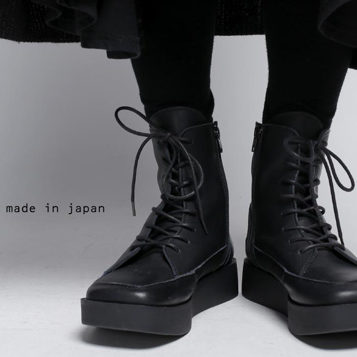 日本製。大人気厚底ブーツがレースアップに。本革スクエア厚底ブーツ ・再販。「G」##×メール便不可!