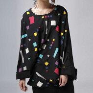 洒落見え、モードなアシメパターンと色を楽しむ。変形ドルマントップス・(50)◎メール便可!