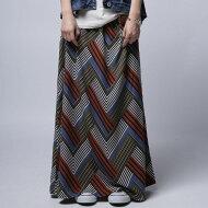 シックでレトロな配色で大人のイロドリを。レトロ柄ロングスカート・(80)◎メール便可!