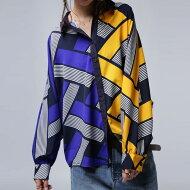 コントラストの美しい配色でハンサムレディな佇まい。柄ドルマンシャツ・(80)◎メール便可!