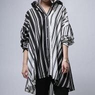 絶妙なゆとりをツクル切り替えデザインで抜け感を。ストライプワイドシャツ・(80)◎メール便可!