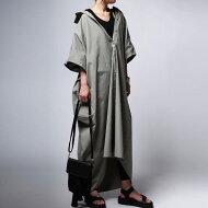 美人袖。空気を含んだ立体感で女性らしく華奢見せ。綿ロングシャツワンピ・##×メール便不可!