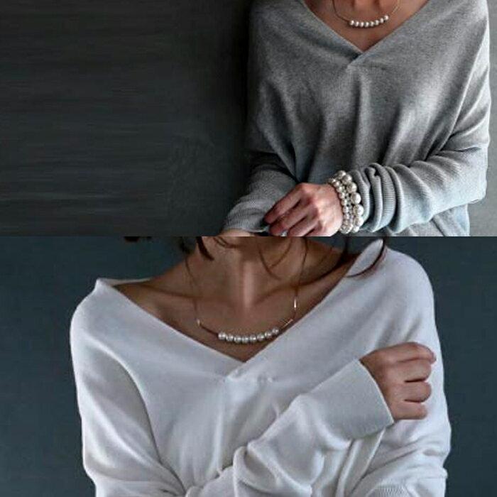 新色登場。全8色。上質cotton素材。ざっくりVネックリブ袖ニット・再再販。綿 「G」##×メール便不可!