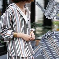 好印象なまとまりを生む、くすみカラー。麻混ストライプシャツ・(100)◎メール便可!