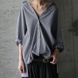 表情をつける。二種類のチェック柄。ギンガムチェックワイドシャツ・再販。(80)◎メール便可!