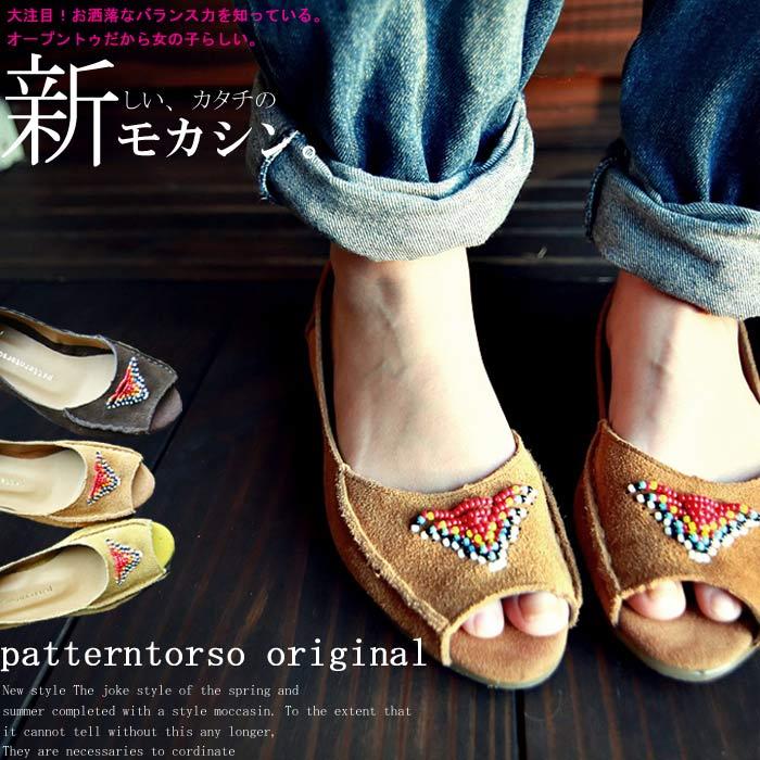 日本製。ビーズデザインがアクセント。モカシンサンダル・6月14日20時〜再再販。オープントゥデザインとモカシンの組み合わせが軽やかな足元創り出す##「G」